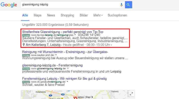 tip top leipzig, google adwords