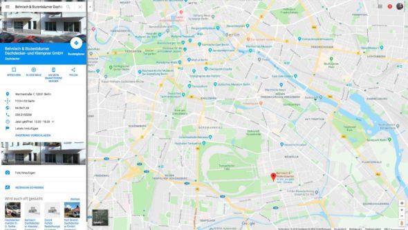 Google my business Eintrag der Firma Behnisch & Stutenbäumer