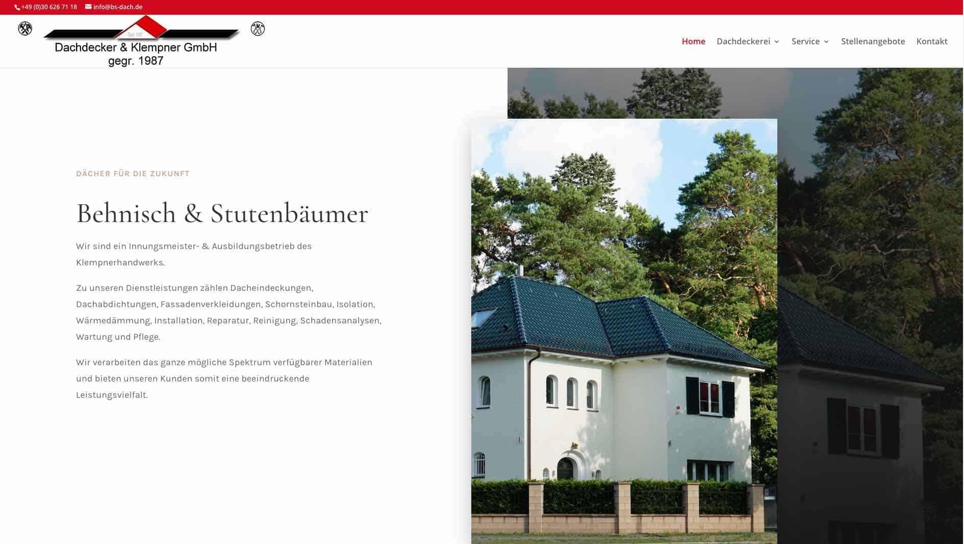 Webseite der Firma Behnisch & Stutenbäumer