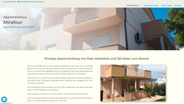 Apartmenthaus Mirafour GbR, webseite
